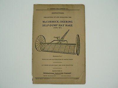 Self Dump Hay Rake Type M Owners Manual Parts List Mccormick Deering 1935