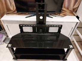 Glossy black glass 3 tier tv mount stand