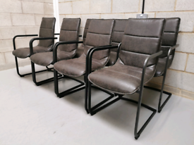 8x Designer Black Faux Leather Industrial Cantilever Dining Chairs