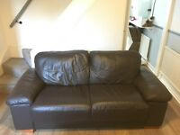 2 Seat Leather covered Sofa