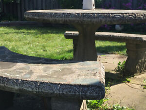 STONE PATIO TABLE & 2 STONE BENCHES