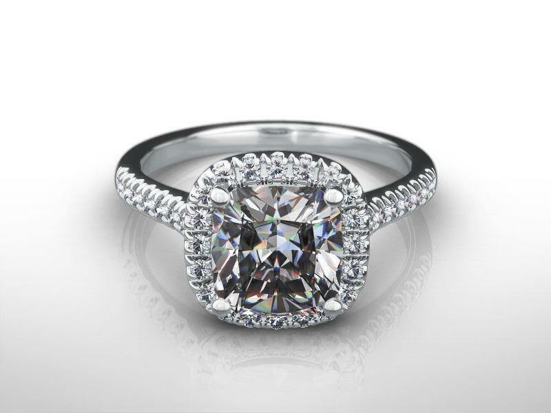 Si1 Diamond Halo Ring Ladies 18k White Gold 1.62 Carats Accents Size 4.5 5 6 7 8
