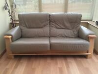 Leather & Oak sofa with chair