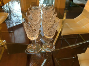 EIGHT (8) BEAUTIFUL WATERFORD CRYSTAL WINE GLASSES!