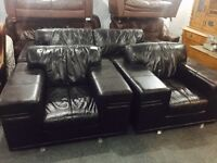Large black leather 3 11 sofa set as new