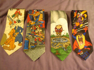 4 Novelty Ties Bugs Bunny Neck Ties & The Gang