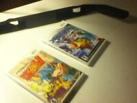2 Nintendo Wii games and a Wii remote hockey stick adapter