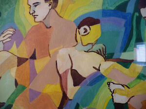 "Modern Abstract Figures, Listed Artist Joyce Kellock ""Six Girls"" Stratford Kitchener Area image 5"
