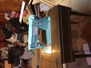 Vintage Blue Singer Sewer and Table