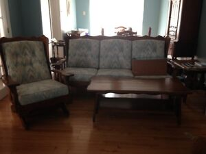 WOODEN SOFA, CHAIR, COFFEE TABLE  & CORNER TABLE