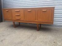 Vintage retro wooden mid century sideboard credenza tv cabinet