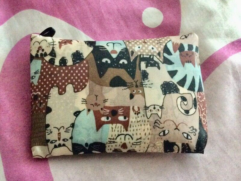 Brand New Canvas Cute Cat Folded Recycle-able Bag