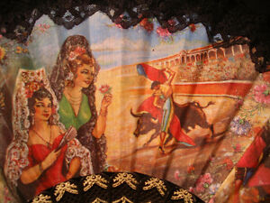 Vintage Spanish Fan Painted Linen Bull Fight Bullfighting Peterborough Peterborough Area image 2