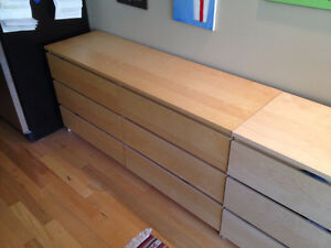 3 Ikea Malm Dressers - Different Sizes