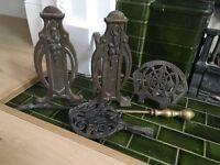 Antique Cast Iron & Brass Fireplace Accessories