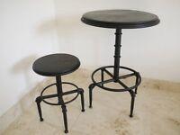 Black Vintage Industrial Distressed Bar Table & Stool