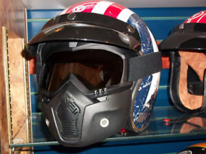 Face Mask With Smoke Lens Goggles, Good For Open Face Helmets.