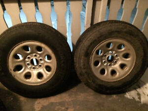 "2 Firestone Transforce HT 245/75-17"" E rated 10ply GM rims"