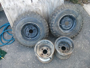 set of ATV rims Great shape front rims with great tires on Cambridge Kitchener Area image 1