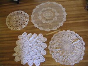 4 Large Doilies - great for vintage wedding decor.