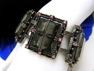 Sarah Coventry Midnight Magic Vintage Bracelet Smoke Glass Pink Rhinestones on Lookza
