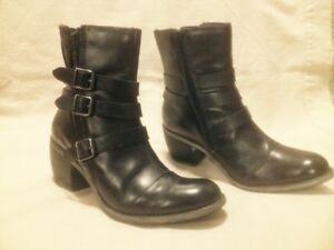 Ladies Waterproof Hush Puppy Steps Black Leather Winter Boots 9M