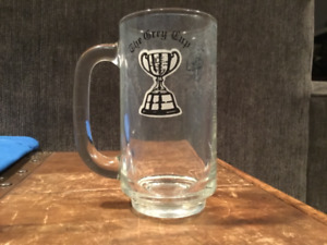 Vintage CFL Football Grey Cup Glass Stein