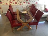 Oak and Glass Dining Table