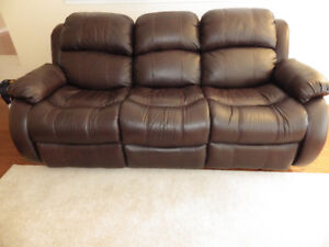 MOVE*Lowest SALE Cherry Recliner & Bungundy Sofa 100%LEATHER