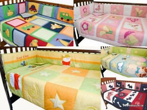 New Cotton Crib Baby bedding 3 pcs set hand quilted Boy Girl