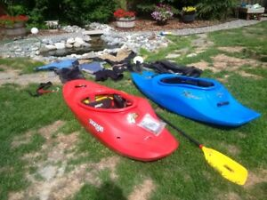 Whitewater kayaks and gear