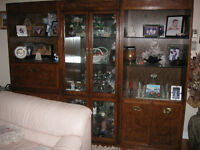 3 Piece Wall Unit / Shelving / Bookcase/ Vitrine Real Oak wood