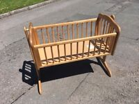 PINE ROCKING CRIB BABY BED ** FREE DELIVERY AVAILABLE THURSDAY **