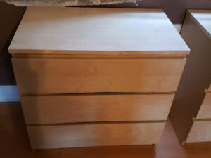 TWO Ikea Malm chest of 3 drawers