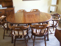 SOLID WOOD TABLE AND SIX ARM CHAIRS