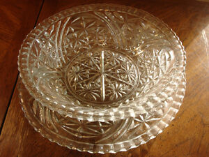 Cut Glass Salad/Punch Bowls w/ Trays, Fork & Spoon Peterborough Peterborough Area image 1