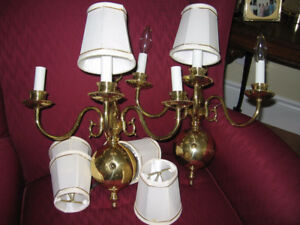 2 ELECTRIC BRASS WALL SCONCE'S  WITH SHADES