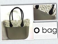 Borsa O Bag Roccia+manici Lunghi Neri+bordo In Lana Melange Beige+sacca Beige-  - ebay.it