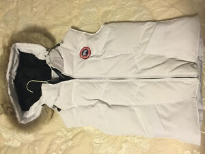 Canada goose white womens vest with fur