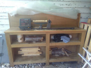Wood Lathe  + Chisel Set + Bench For Sale!