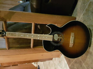 Epiphone PR5E VS acoustic/electric guitar with hard case