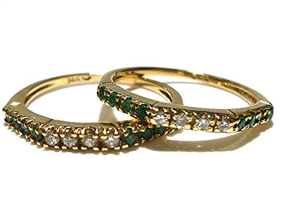 DESIGNER 14K YELLOW GOLD DIAMOND & EMERALD STACKING STACKABLE RING BAND