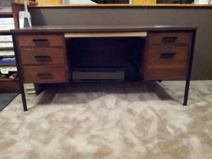 "Double Pedestal Desk 30""x60"" metal frame, solid wood"