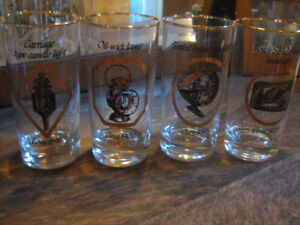 History of Headlights, 4 collector glasses