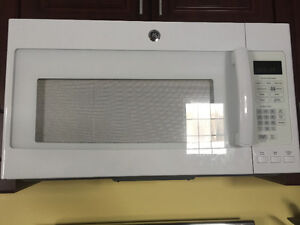 Over-the-range white GE microwave