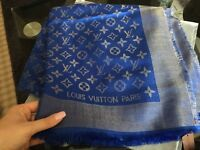 Louis Vuitton scarf shawl Royal blue with gold tread