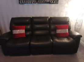 Genuine Lazboy 3 + 2 seater black leather manual recliner sofa