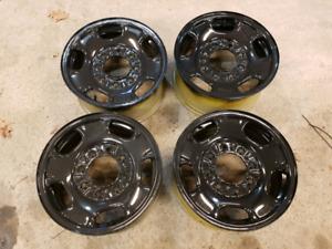 "17"" 8 lug bolt pattern steel wheels fresh paint"