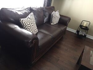 New condition leather couch, loveseat and chair