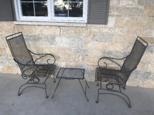 2  WROUGHT IRON PATIO/FRONT PORCH ROCKERS & MATCHING END TABLE
